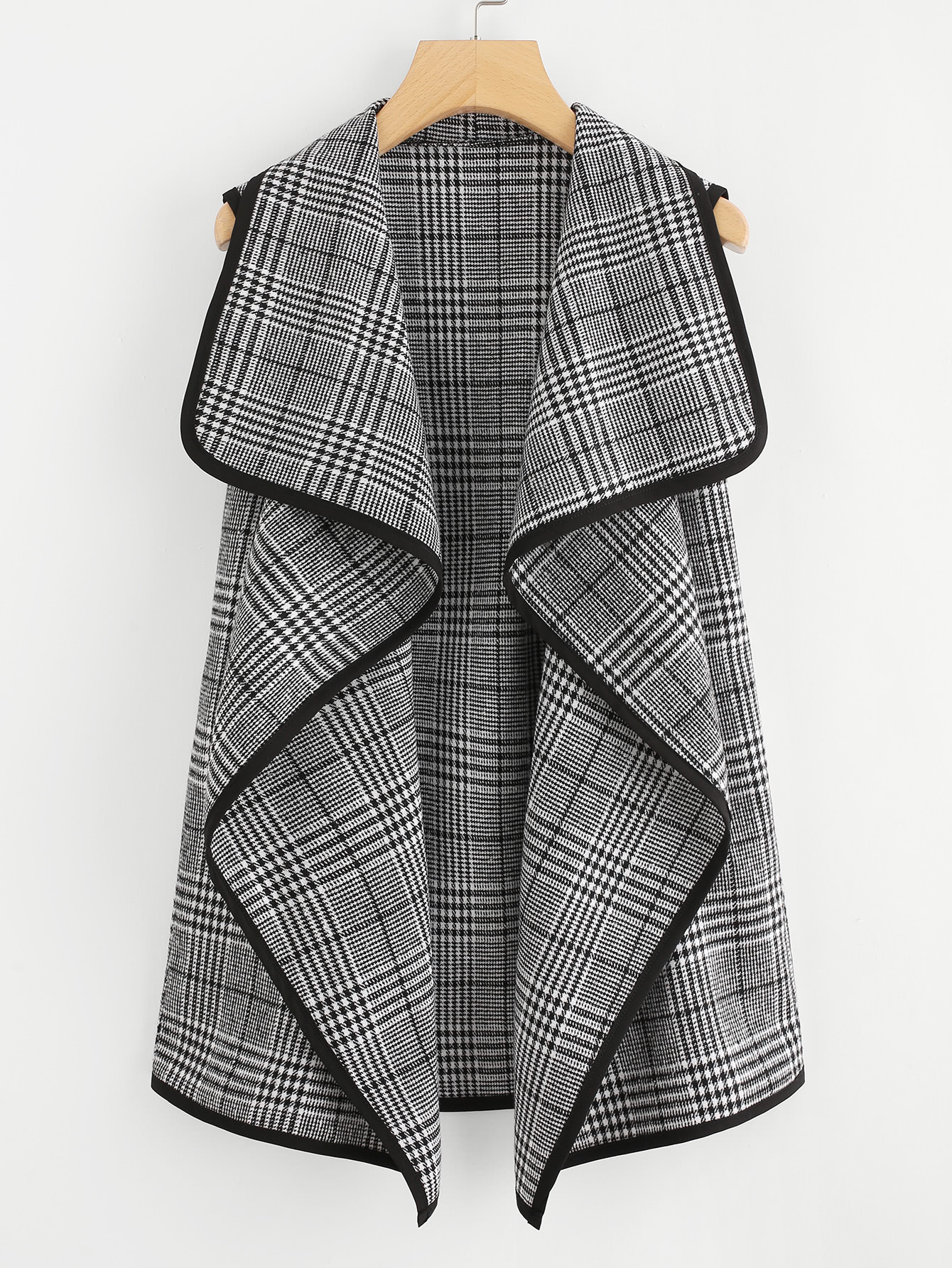 Contrast Binding Wales Check Waterfall Coat split front wales check skirt