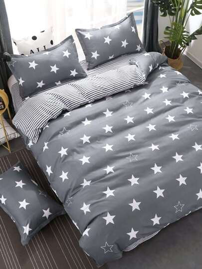 2.0m 4Pcs Stars & Striped Print Bedding Set