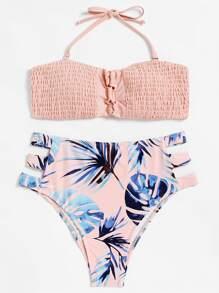 Cut Out Ruched Bikini Set