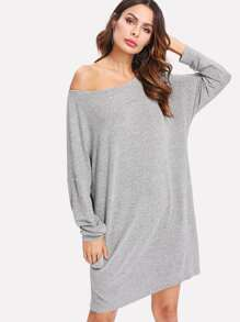 Drop Shoulder Pocket Detail Heathered Tee Dress
