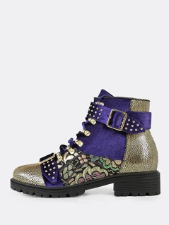 Lace Up Utility Boots with Gold Accents PURPLE