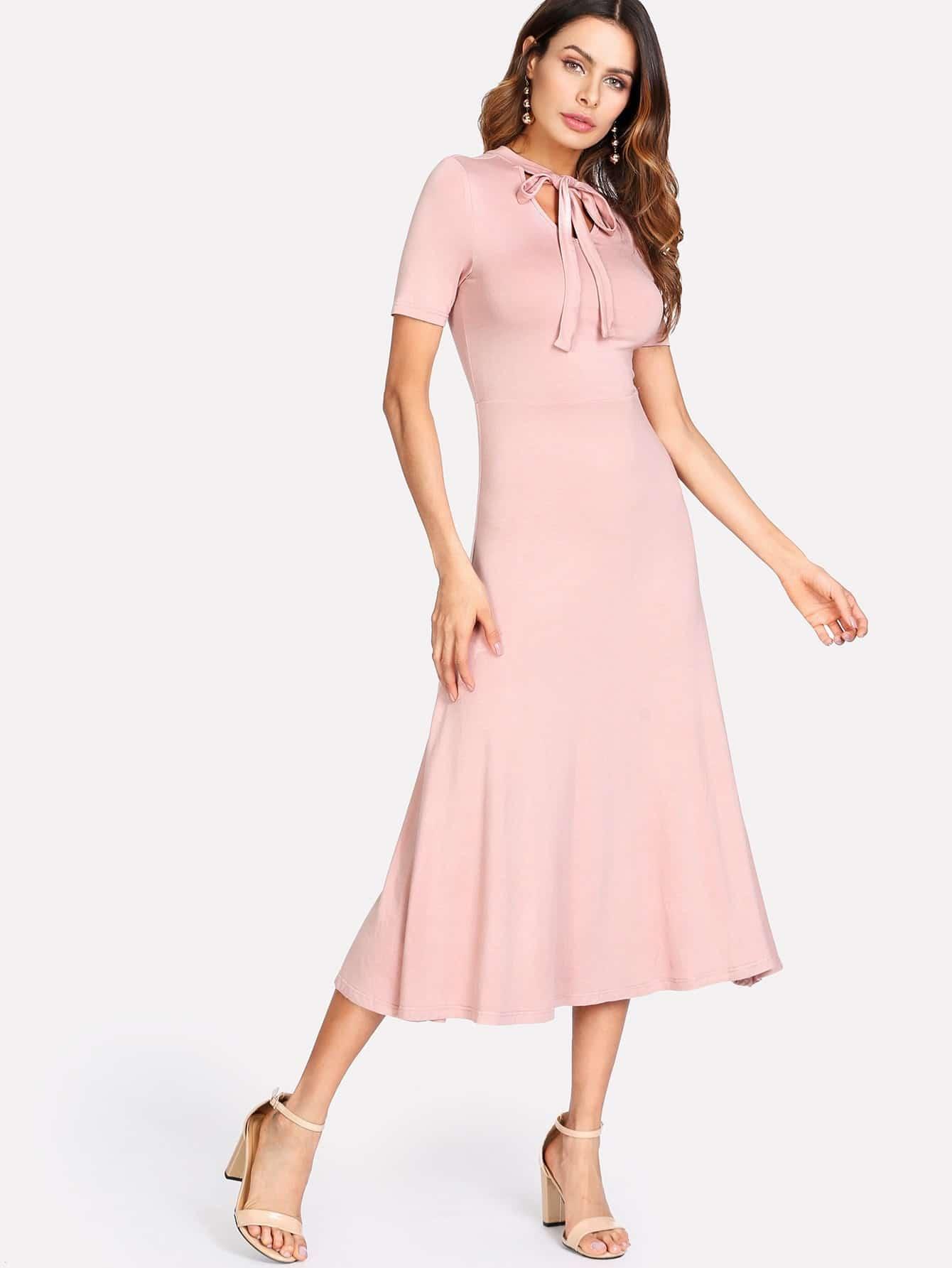 Tied Neck Solid Fit & Flare Dress bishop sleeve tied neck striped flare dress