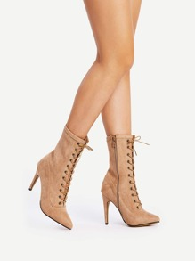 Lace Up Side Zipper Suede Stiletto Heels
