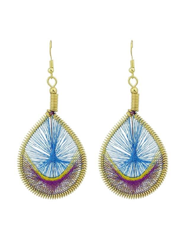Blue Colorful Rope Handmade Braided Wate Drop Hanging Earrings medallion colorful beaded drop earrings