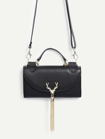 Antlers & Tassel Detail PU Shoulder Bag