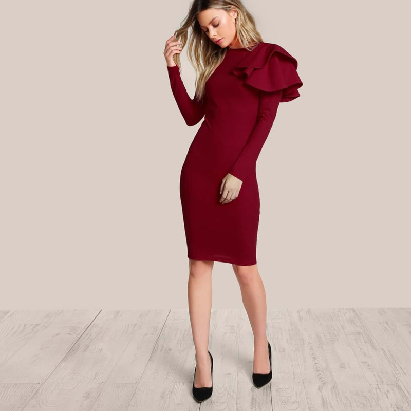One Side Tiered Ruffle Dress, Burgundy