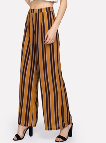 Zip Up Wide Leg Striped Pants