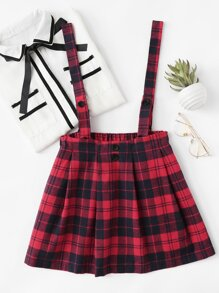 Checked Pleated Pinafore Skirt