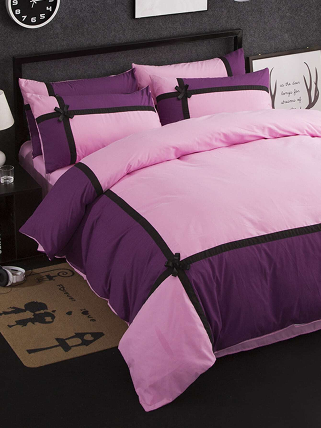 2.0m 4Pcs Bow Decorated Colorblock Bed Sheet Set бра leds c4 bed 05 2830 34 34