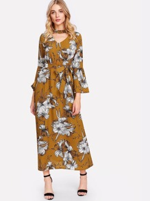 Cut Out Neck Floral Print Self Tie Waist Dress
