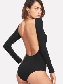 Boat Neck Backless Bodysuit