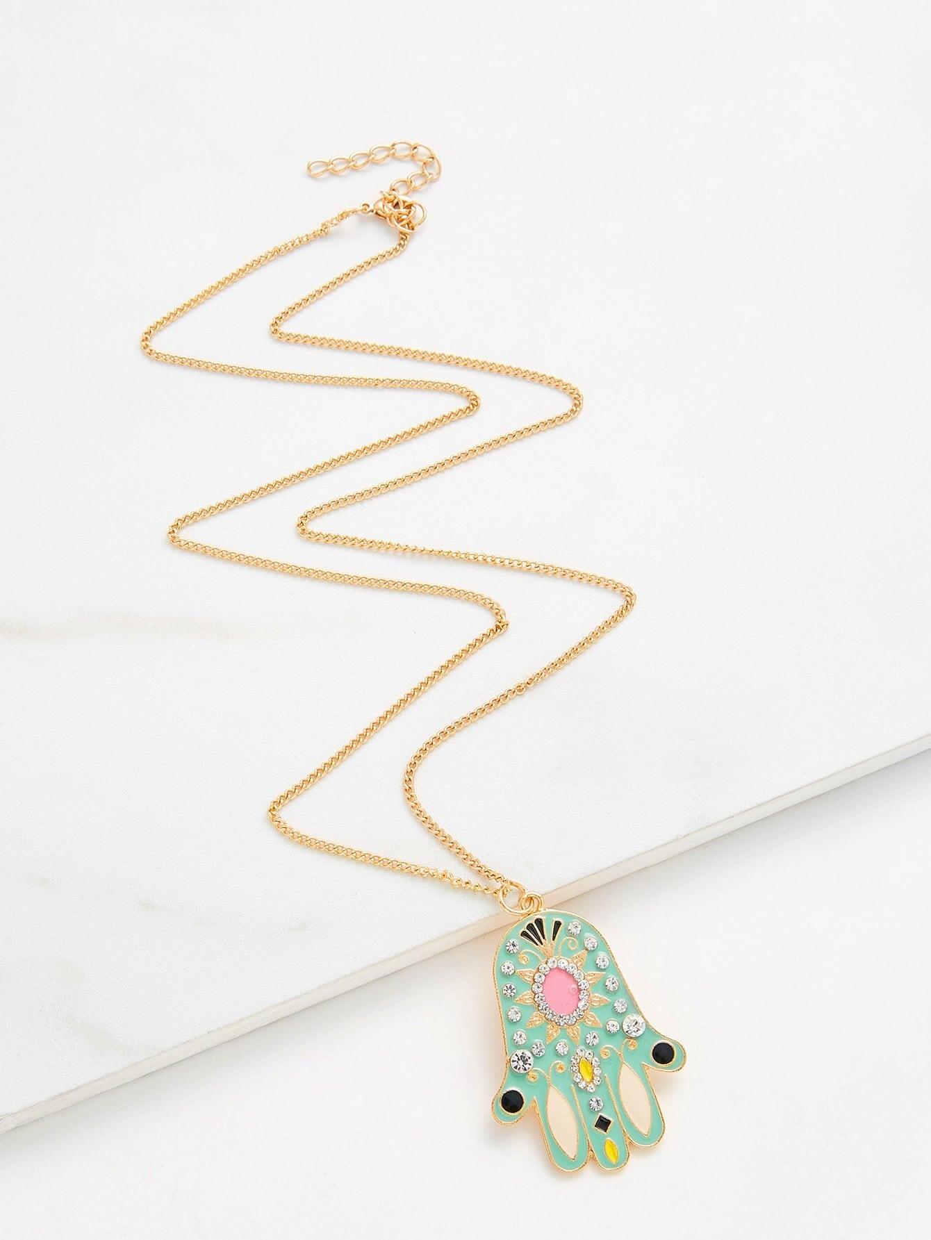 Rhinestone Palm Pendant Chain Necklace