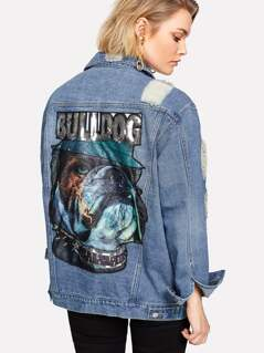 Printed And Sequin Back Ripped Denim Jacket