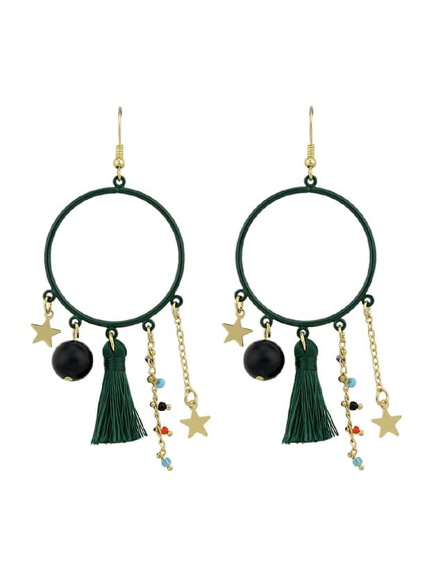 Green Tassel Simulated-Pearl Colorful Beads Star Charms Drop Earrings