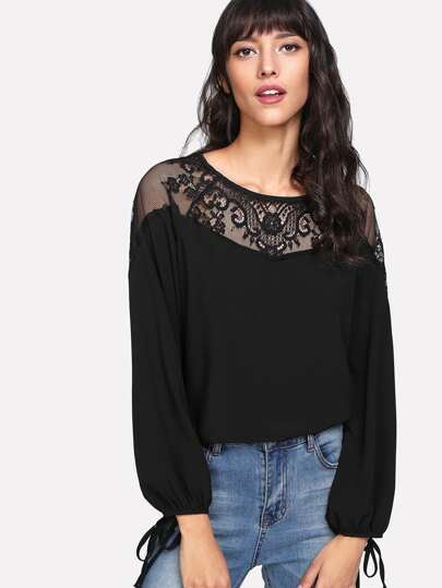 Lace Yoke Tie Cuff Top