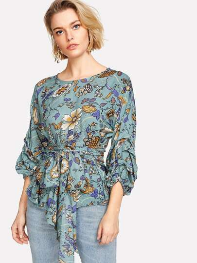 Lantern Sleeve Self Belted Floral Top