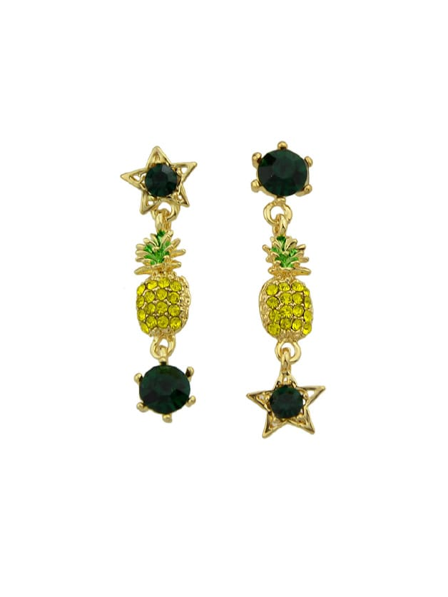 Rhinestone Pineapple Drop Earrings