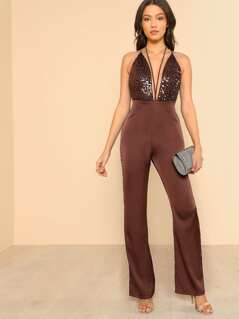 Deep V Halter Sequin Jumpsuit BROWN