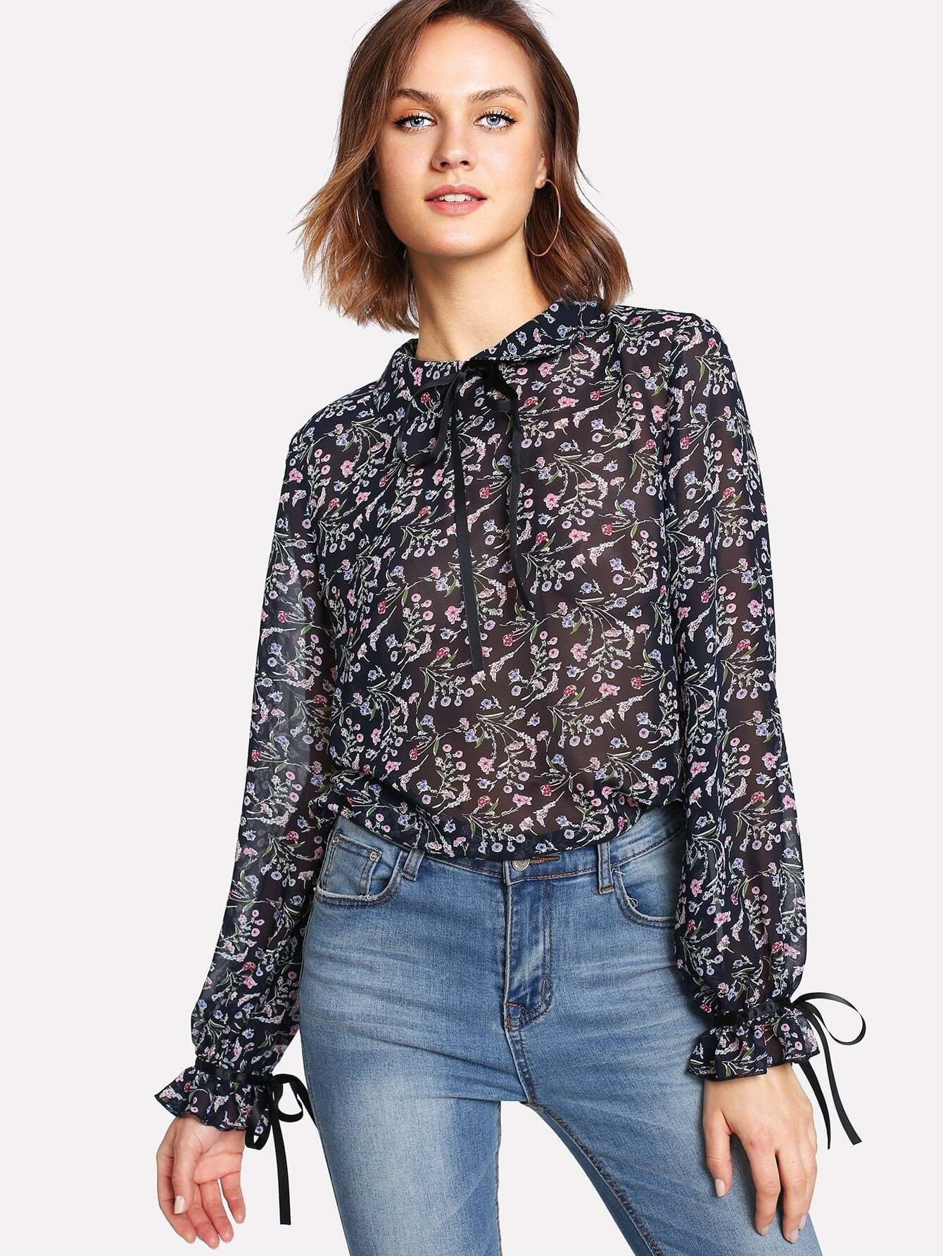 Tie Neck And Cuff Flower Print Semi Sheer Blouse tie cuff button front blouse