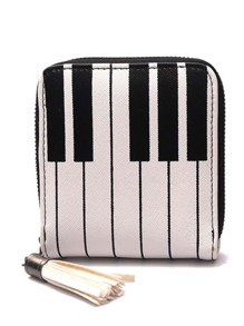 Piano Key Design PU Clutch Bag