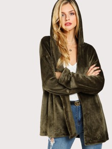 Open Front Hooded Fleece Coat