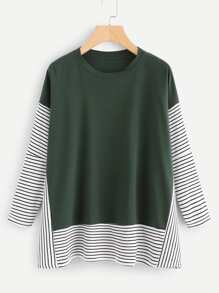Contrast Stripe Panel Drop Shoulder Tee