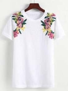 Flower Embroidered Shoulder Tee