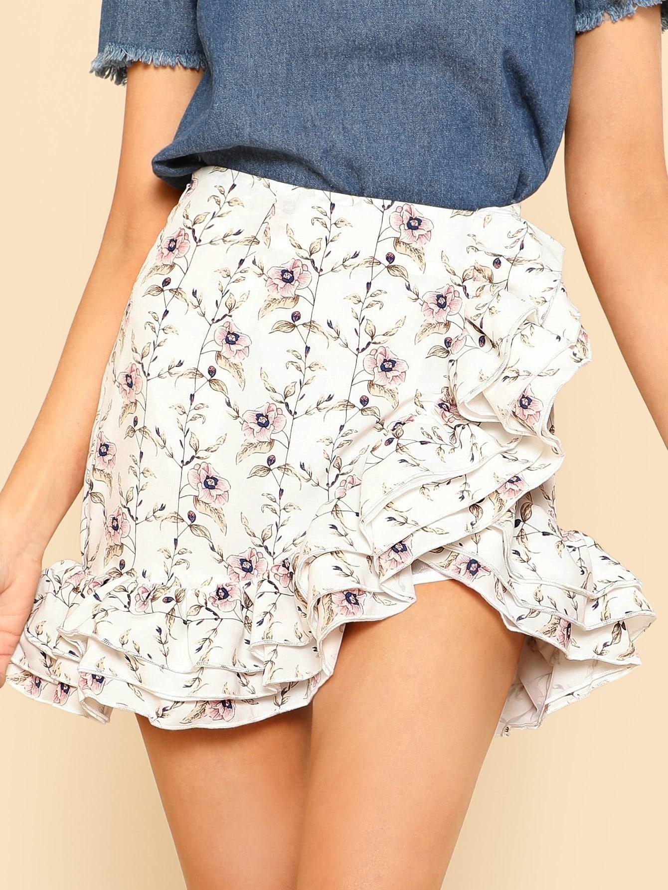 Купить Модная юбка с принтом и оборкой, Allie Leggett, SheIn