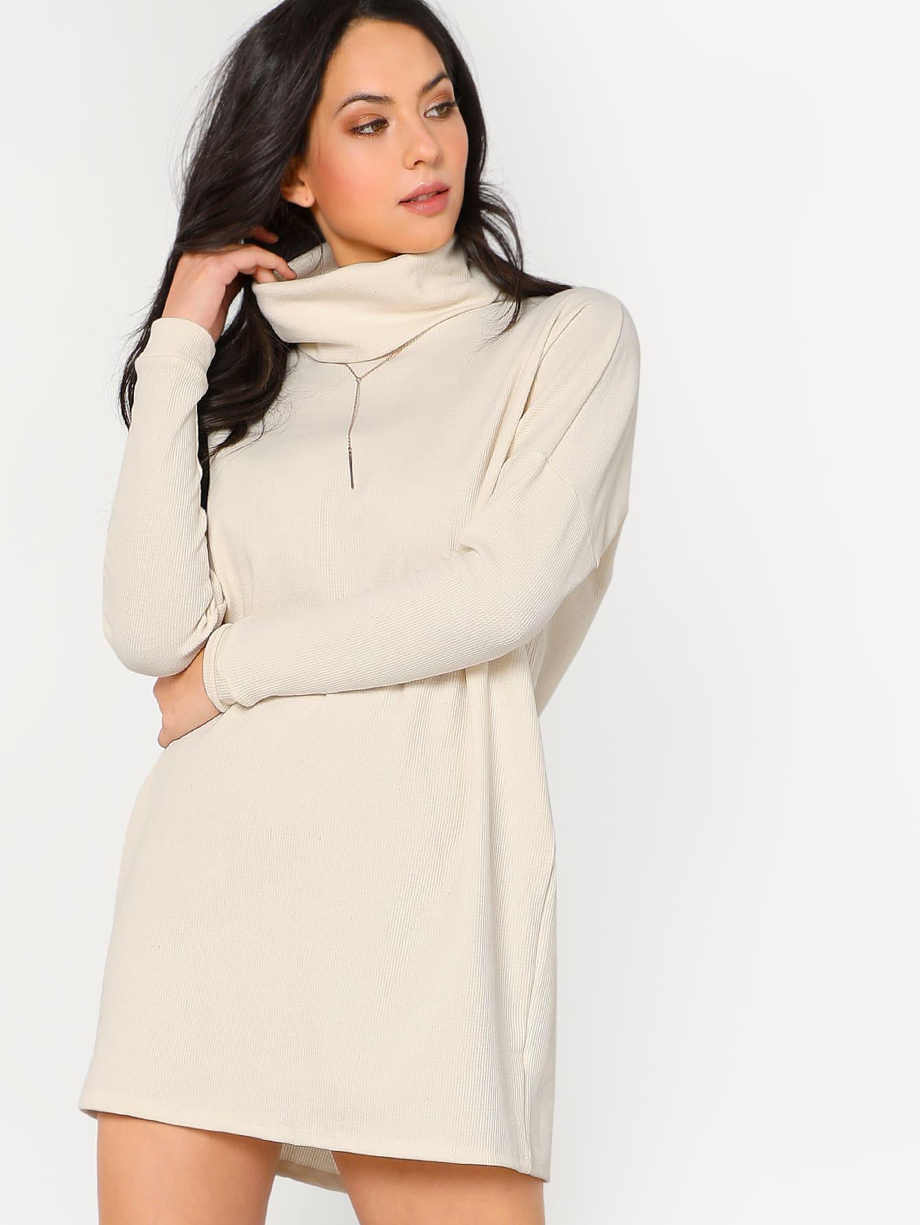 Long sleeved turtleneck sweater dress shein sheinside for Long sleeve turtleneck wedding dress