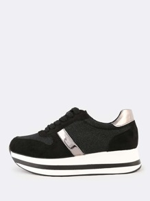 Contrast Accent Platform Sneakers BLACK