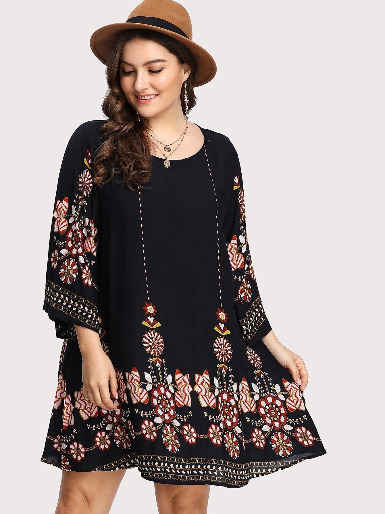 tribal flower print tunic dress shein sheinside. Black Bedroom Furniture Sets. Home Design Ideas