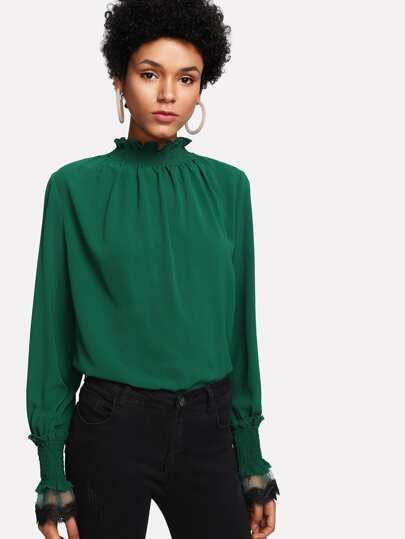 Frill Detail Smocked Neck And Cuff Top