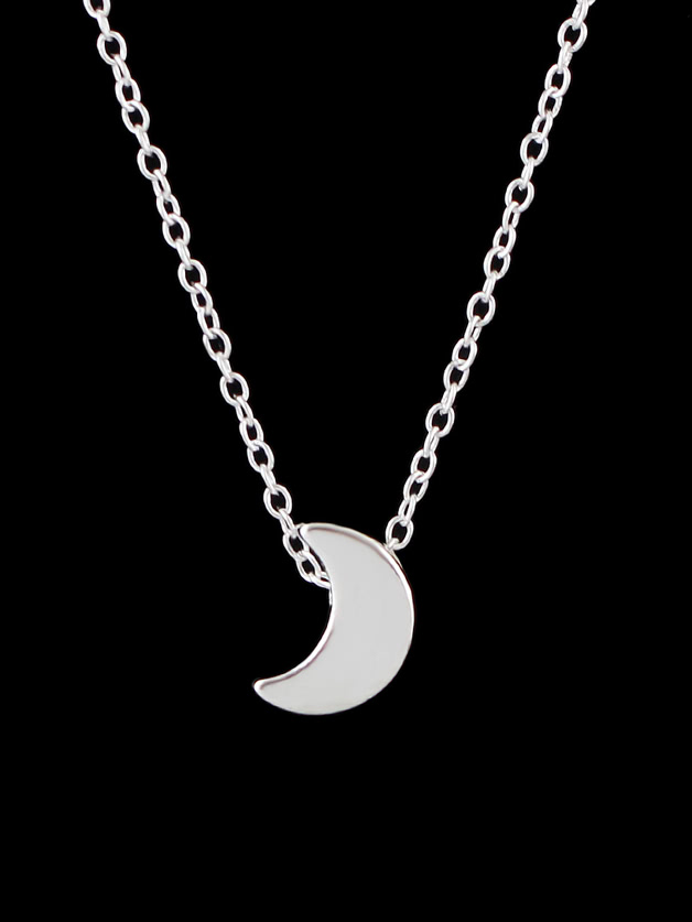 Silver Moon Pendant Necklace Collier Femme Minimalist Jewelry moon stars style pendant necklace for women silver