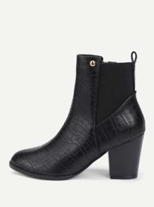 Block Heeled PU Chelsea Boots