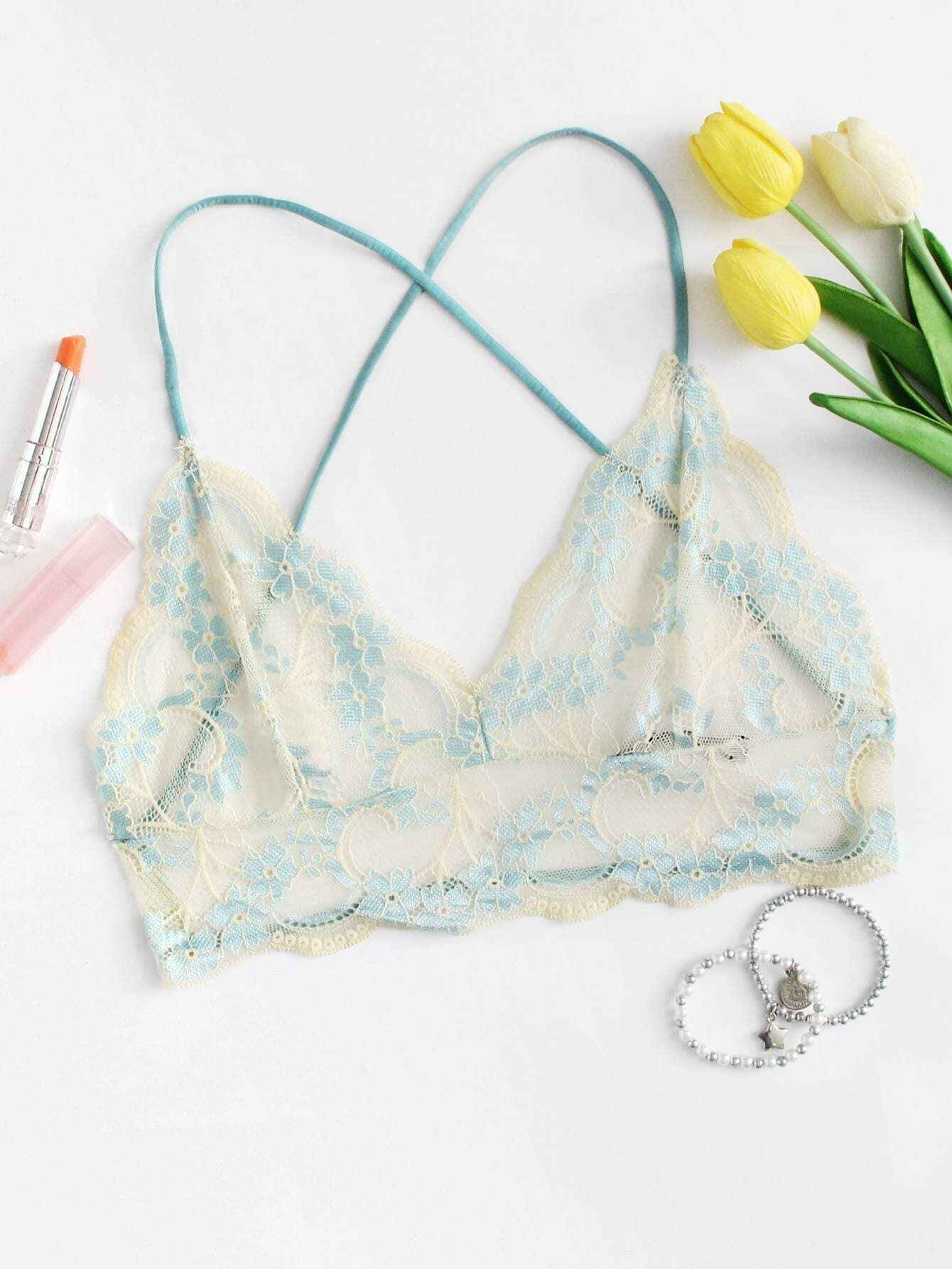 Scalloped Trim Lace Overlay Bra scalloped corssover lace bra