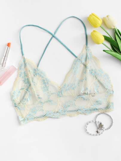 Scalloped Trim Lace Overlay Bra