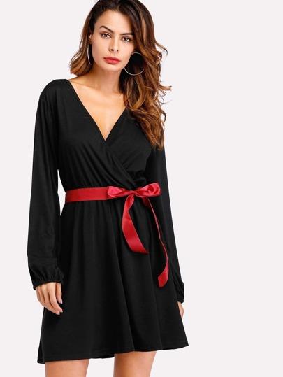 Surplice Neckline Ribbon Tie Dress