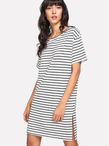 Slit Side Striped Tee Dress