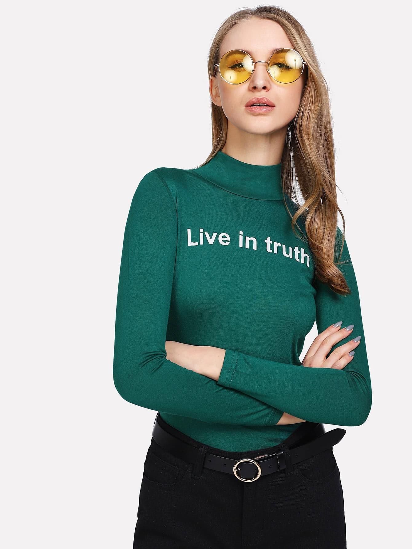 High Neck Slogan Print T-shirt heather blue slogan print t shirt