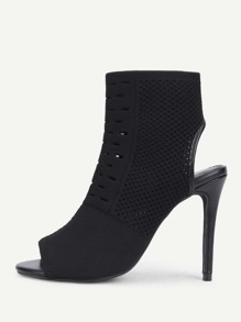 Peep Toe Stiletto Heeled Ankle Boots