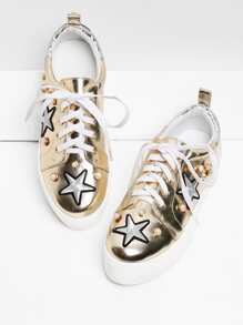 Embroidery Star PU Sneakers With Faux Pearl