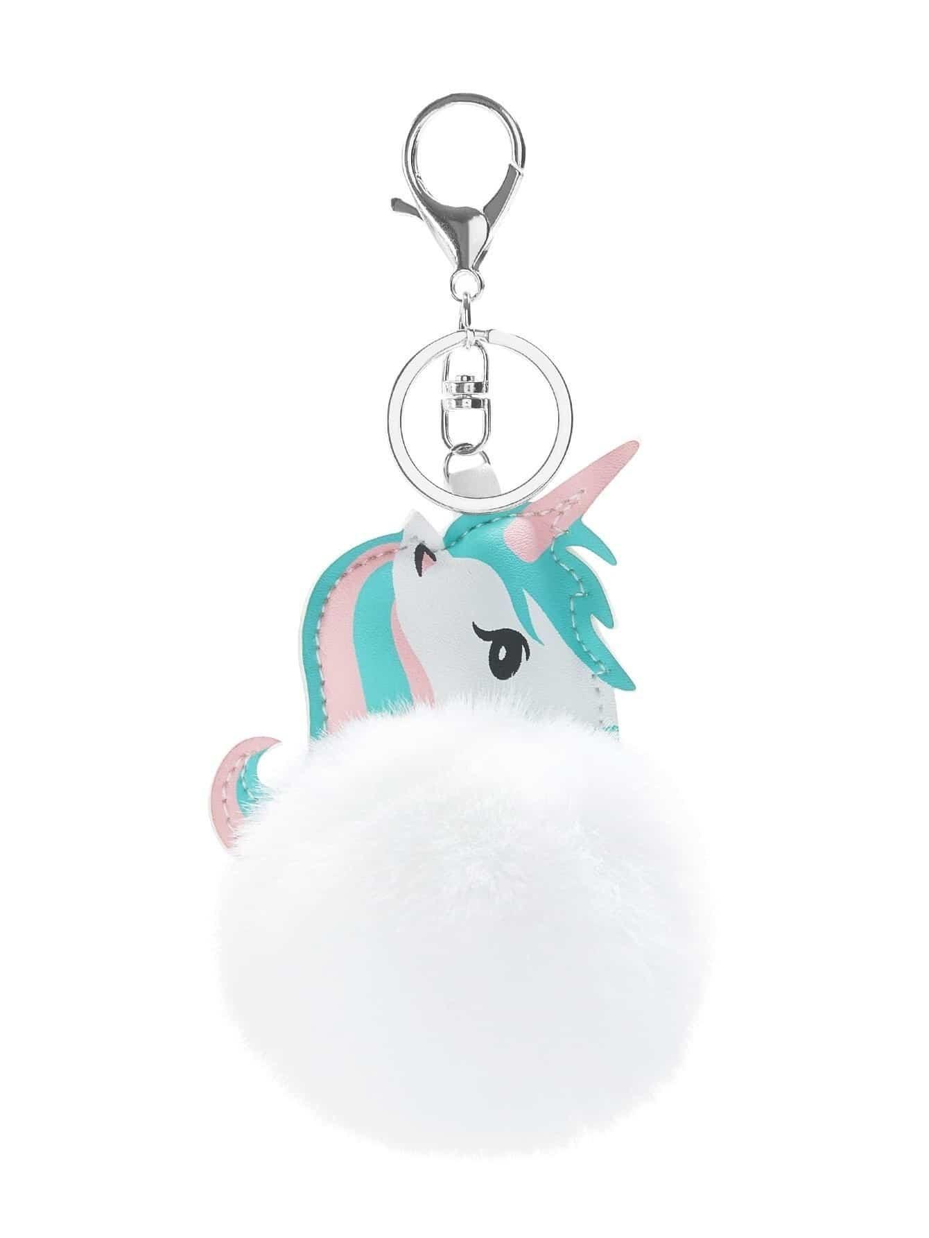 Horse & Pom Pom Design Keychain cat detail pom pom keychain