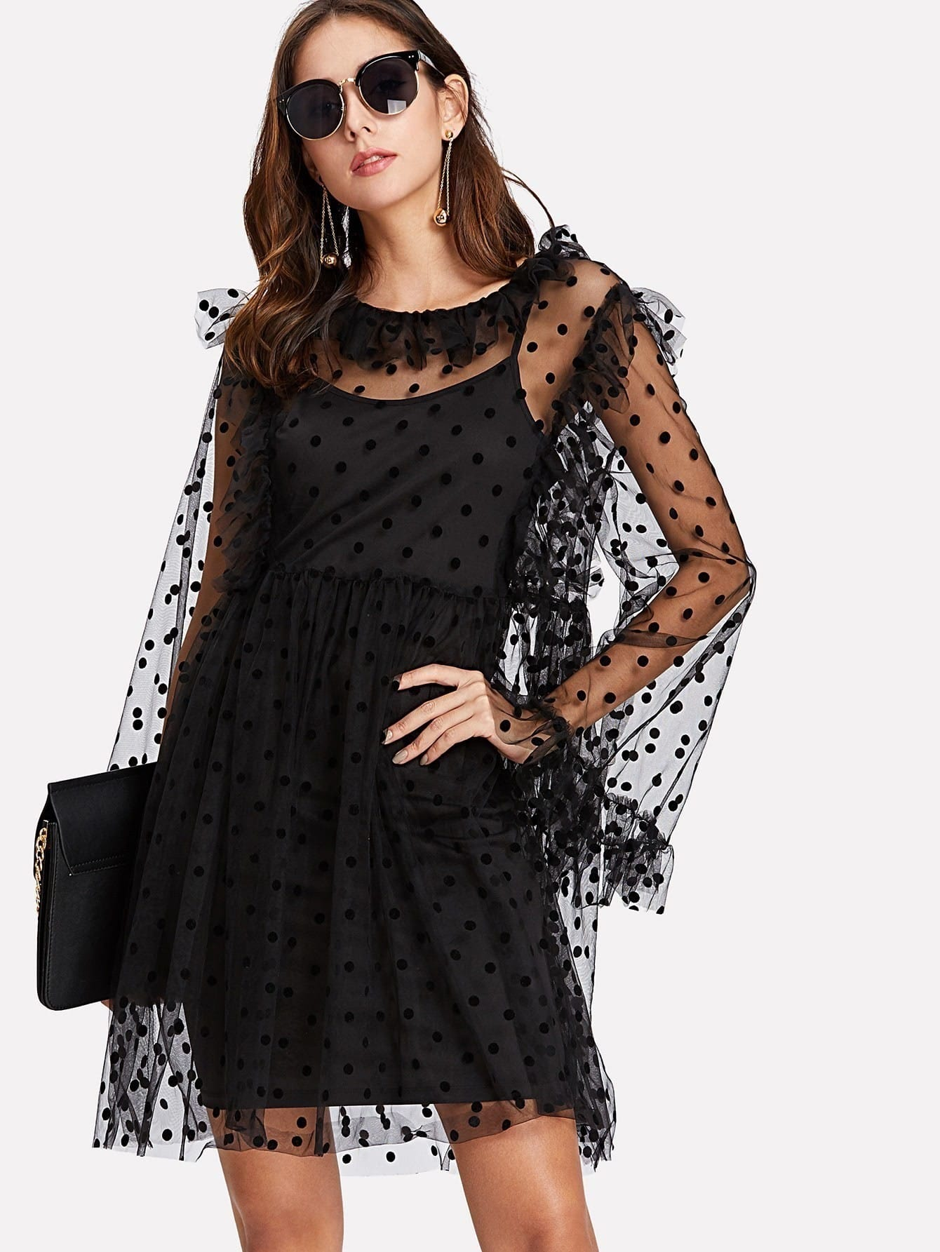 Dot Mesh Overlay Frill Detail Dress Set frill detail crochet insert embroidered mesh top