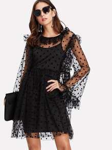 Dot Mesh Overlay Frill Detail Dress Set