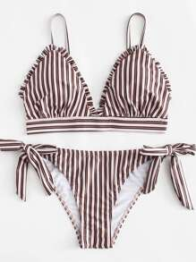 Frill Trim Striped Bikini Set