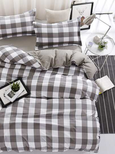 2.2m 4Pcs Plaid Bed Sheet Set