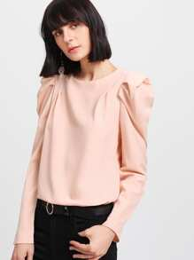 Puff Sleeve Pleated Zip Up Back Blouse