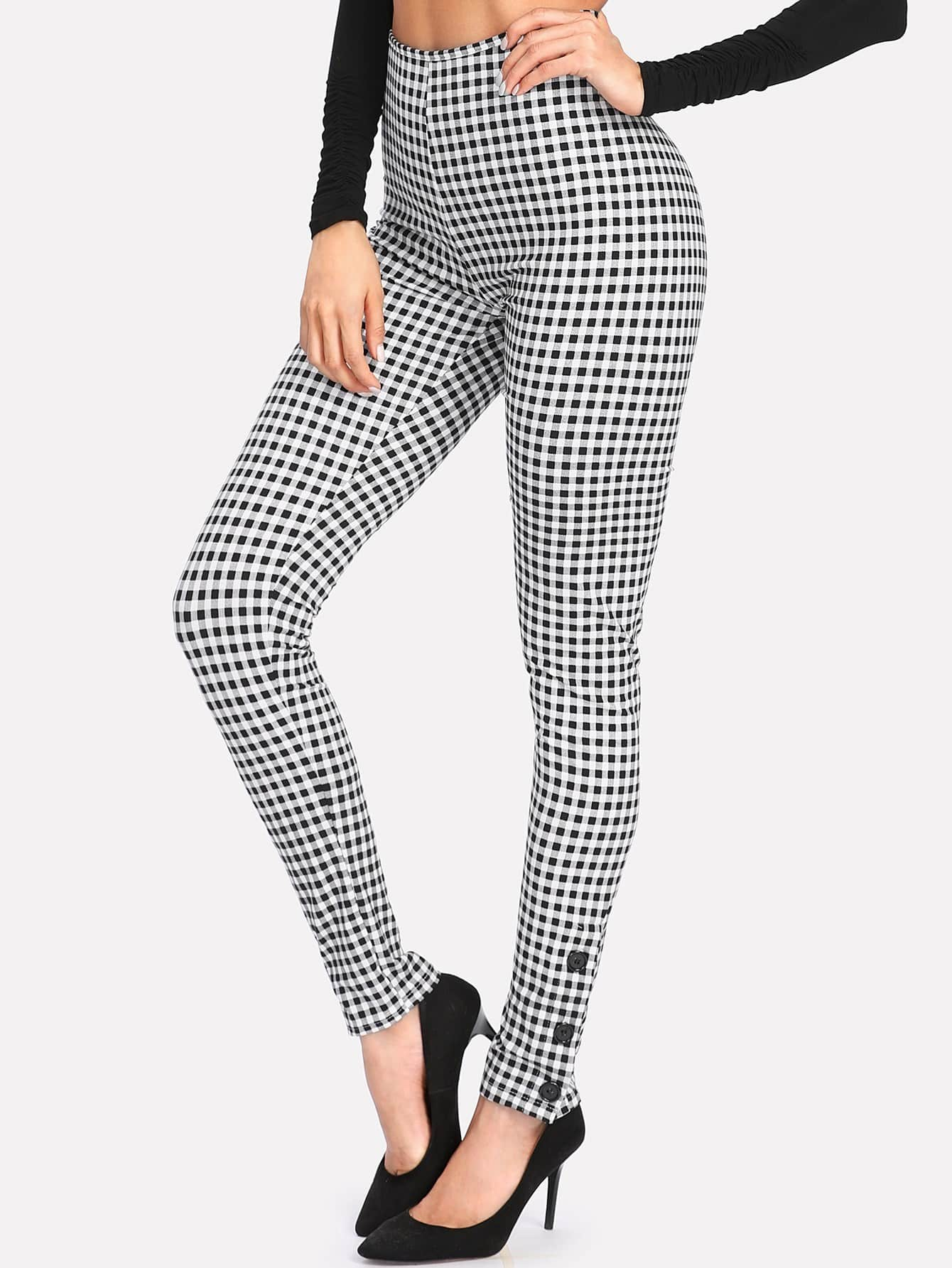 Image of Button Detail High Waist Gingham Pants