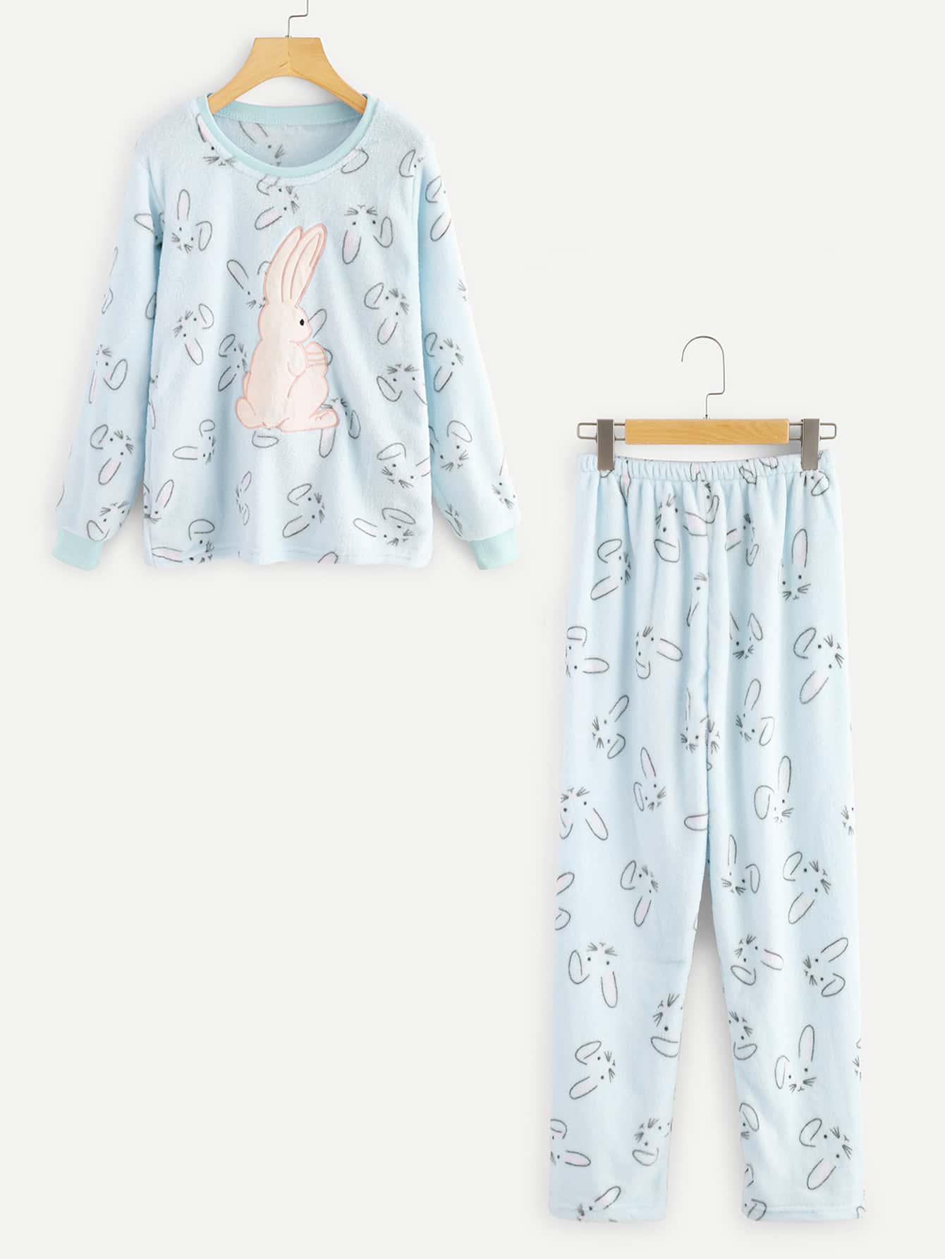 купить Rabbit Print Pullover Pajama Set недорого