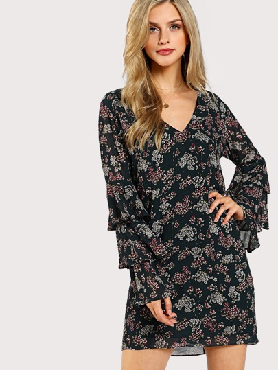 Layered Sleeve Botanical Dress